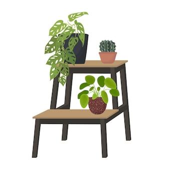 Kryte rośliny doniczkowe na stojaku dom ogród miejski dżungla płaska ilustracja wektorowa