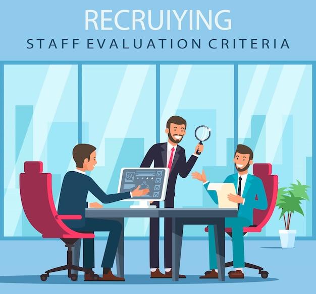 Kryteria oceny personelu rekrutującego z płaskim banerem.
