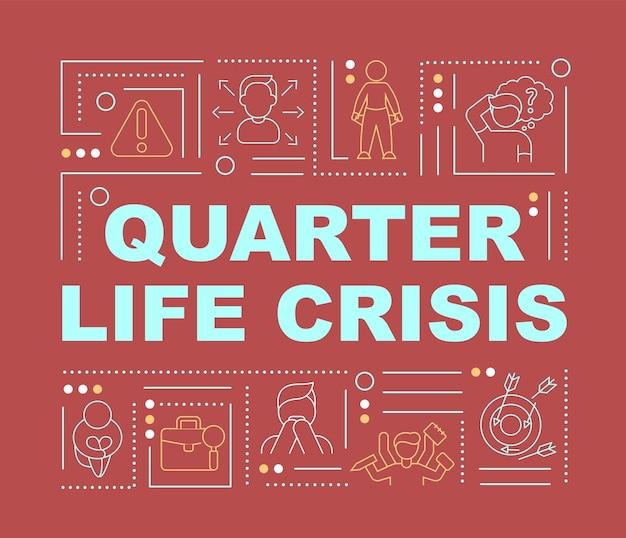 Kryzys ćwierć życia znaki słowo koncepcje transparent. wybór kierunku życia. infografiki z liniowymi ikonami na czerwonym tle. na białym tle twórczej typografii. wektor ilustracja kolor konturu z tekstem