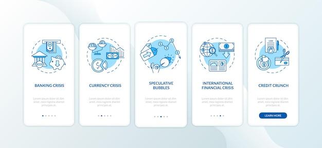 Kryzys finansowy ekran strony aplikacji mobilnej onboarding z koncepcjami. międzynarodowa recesja gospodarcza w pięciu krokach — instrukcje graficzne. szablon wektorowy interfejsu użytkownika z kolorowymi ilustracjami rgb