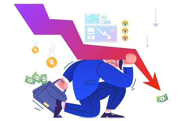 Kryzys finansowy i porażka w biznesie, nacisk strzałki w dół na akcjonariusza.