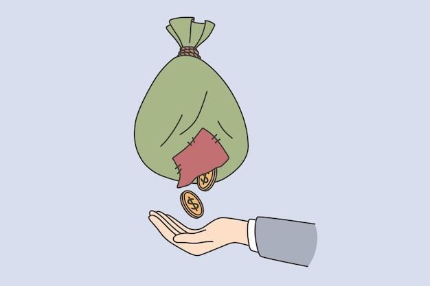 Kryzys finansowy, koncepcja braku pieniędzy. ręka biznesmena łapiąca złote monety z biednego odrapanego worka na niebieskim tle ilustracji wektorowych