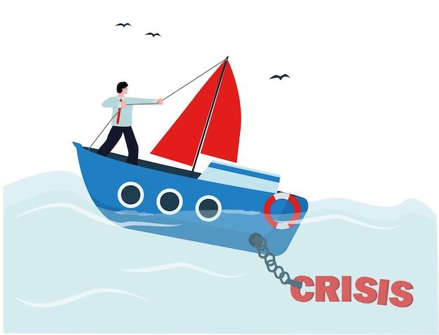 Kryzys finansowy, statek tonie, kierownik ratuje swój biznes. wektor