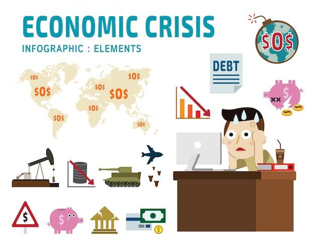 Kryzys gospodarczy sfrustrowany biznes człowiek postać z kreskówki