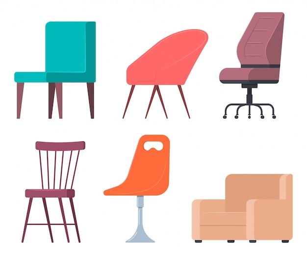 Krzesła i fotele wektor płaski zestaw elementów mebli do domu i biura.