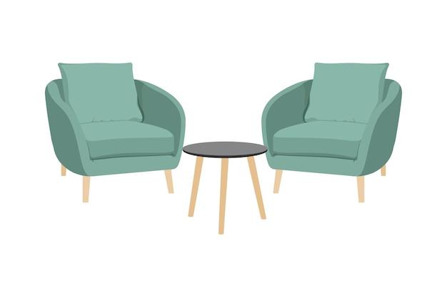 Krzesła i stoły, pufa projekt krzesło meble wektor na białym tle. projekt wektorowy w stylu płaskiej