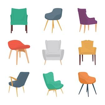Krzesła płaskie ikony
