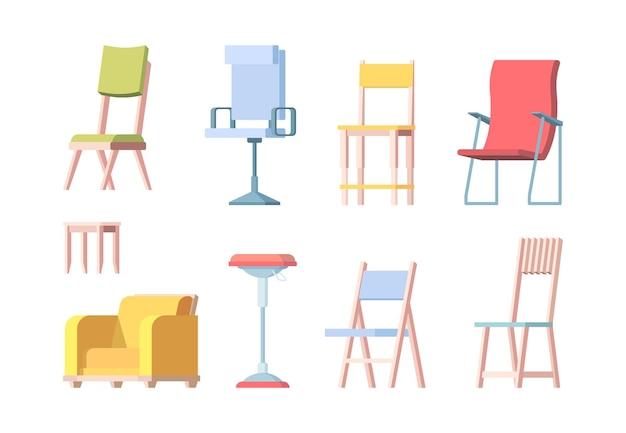Krzesła płaskie. nowoczesne meble eleganckie krzesła wektor kolekcja. ilustracja kolekcji mebli, nowoczesna dekoracja wnętrza domu