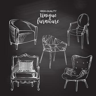Krzesła szkic wektor