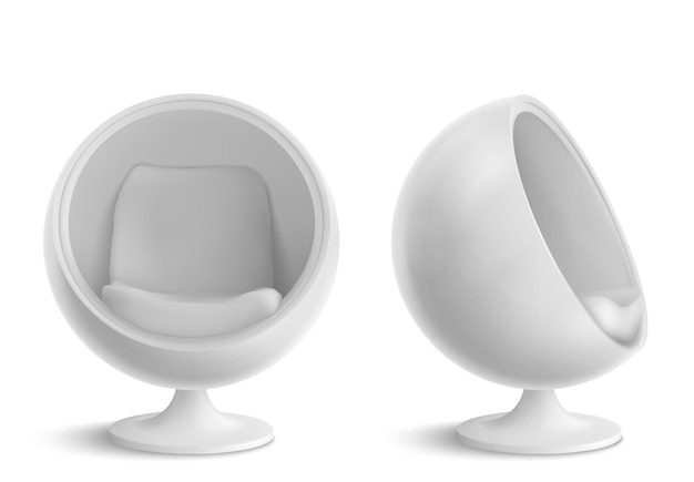 Krzesło ball, okrągły fotel z przodu iz boku. futurystyczny design mebli do wnętrza domu lub biura, wygodne siedzisko w kształcie jajka na białym tle. realistyczne 3d ilustracji wektorowych