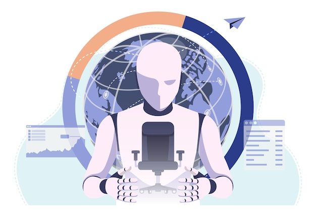 Krzesło biurowe chroniące robota ai. sztuczna inteligencja przejmuje zadania.