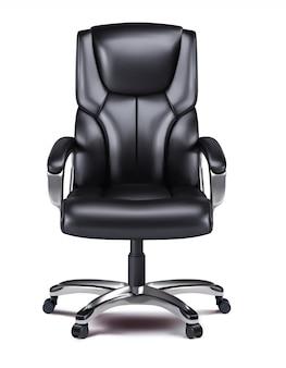 Krzesło biurowe na białym tle realistyczna grafika wektorowa 3d