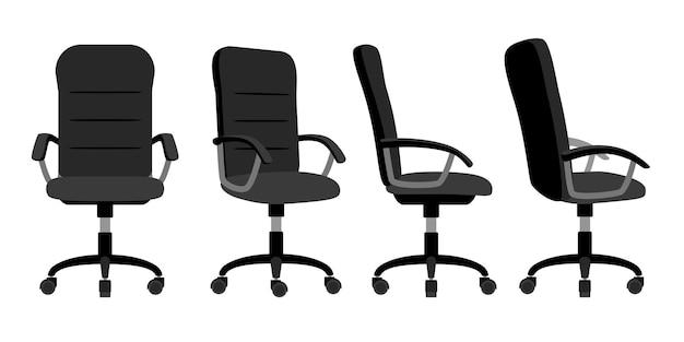 Krzesło biurowe z przodu iz tyłu. wektor minimalne krzesła biurowe kąt widzenia na białym tle na białym tle, pusty stołek pracy z ilustracji wektorowych koła