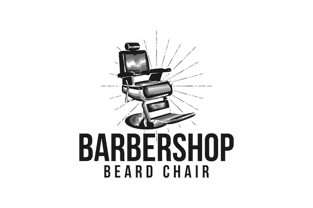 Krzesło fryzjerskie do salonu fryzjerskiego w stylu vintage, ręcznie rysowane inspiracja do projektowania logo fryzjera