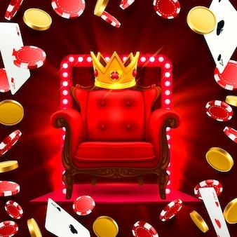 Krzesło king kasyno. latające spadające karty do pokera z żetonami i monetami. ilustracja wektorowa