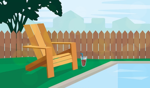 Krzesło ogrodowe przy basenie ilustracja
