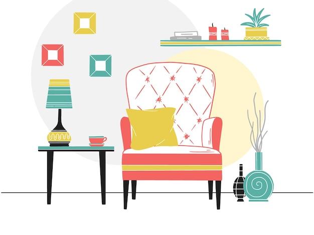 Krzesło, stolik z kubkiem. półka z książkami i roślinami. ręcznie rysowane ilustracja stylu szkicu