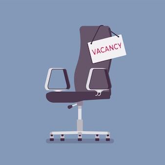 Krzesło wakatu zaloguj się dla kandydatów do pracy. puste miejsce dla kandydatów, ogłoszenie o wolnym stanowisku, zatrudnienie na wolnym stanowisku w firmie, symbol wolnego miejsca pracy i agencji rekrutacyjnej. ilustracja wektorowa