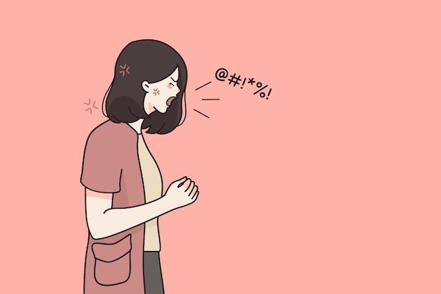 Krzycząc płacz emocjonalny zły kobieta postać z kreskówki stojąc i krzycząc