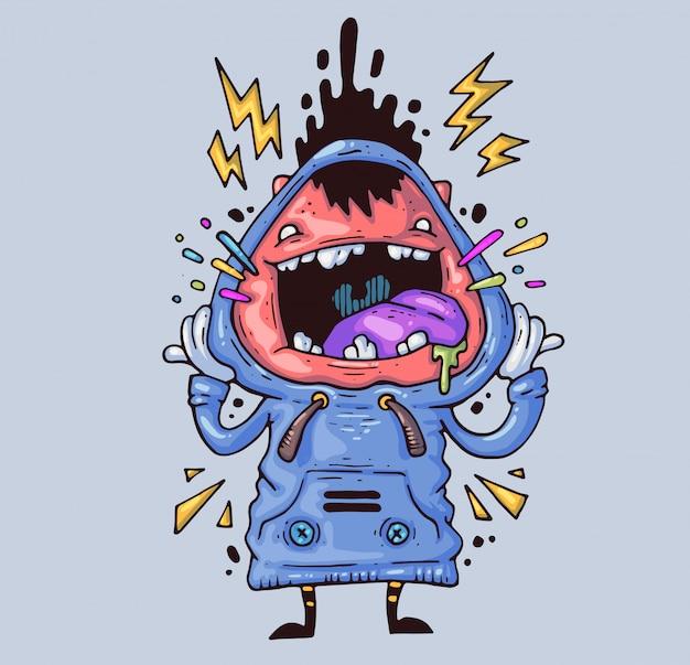 Krzyczący chłopiec szalony facet płacze głośno. ilustracja kreskówka postać w nowoczesnym stylu graficznym.