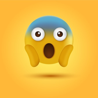 Krzyczący emoji emotikonów z dwiema rękami trzymającymi twarz lub zszokowany emoji