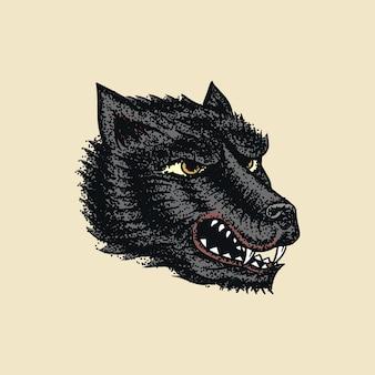 Krzyczący szalony wilk na tatuaż lub etykietę. rycząca bestia.