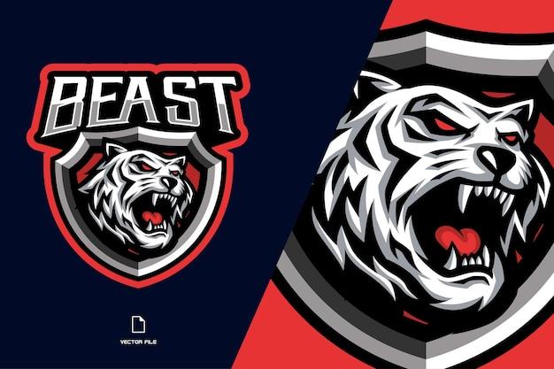 Krzyczy biały tygrys z logo gry e-sportowej maskotki tarczy