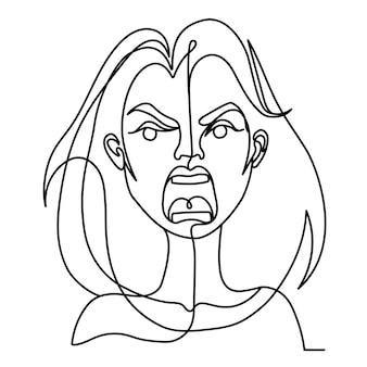 Krzyczy kobieta jeden portret sztuki linii. niezadowolony kobiecy wyraz twarzy. ręcznie rysowane liniowe sylwetka kobiety.