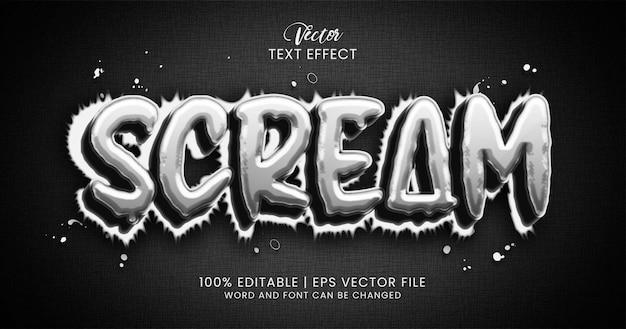 Krzyk, strach i szok, edytowalny szablon stylu efektu tekstowego