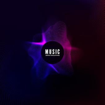 Krzywa radialnej fali dźwiękowej. wizualizacja kolorowego korektora. streszczenie kolorowa okładka na plakat muzyczny i baner. tło