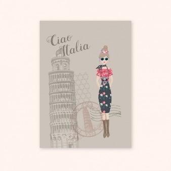 Krzywa wieża w pizie pocztówce