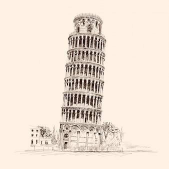 Krzywa wieża w pizie. włochy,. szkic ołówkiem na beżowym tle.