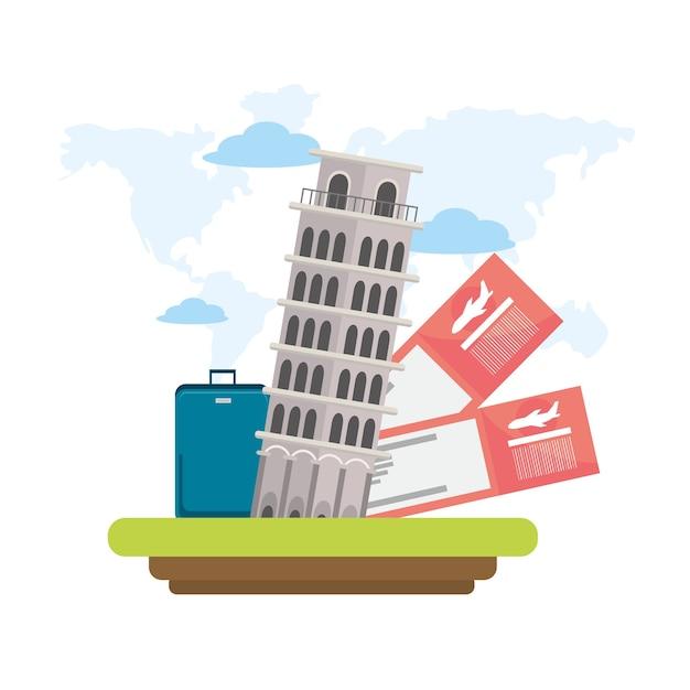 Krzywa wieża w pizie z biletami i bagażem