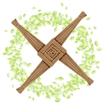 Krzyż brigida w wieniec z liści