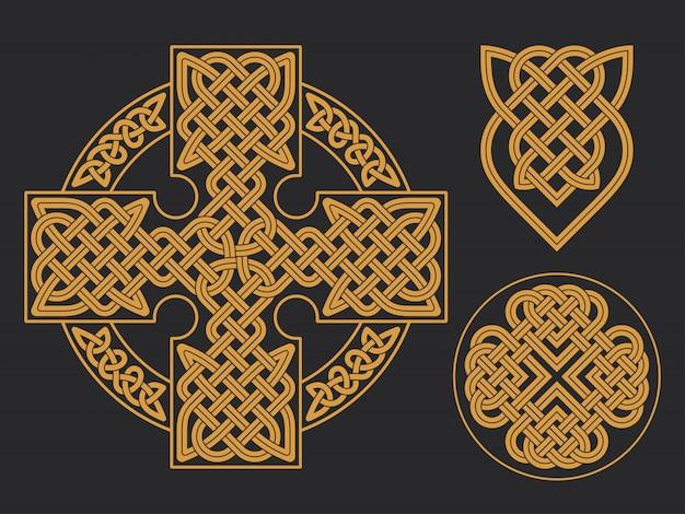 Krzyż celtycki etniczny ornament geometryczny nadruk na koszulce