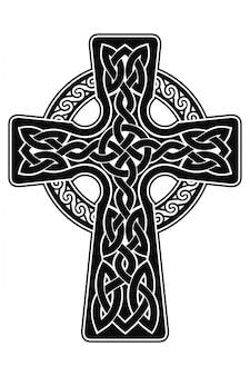 Krzyż celtycki z ornamentem narodowym jako wstążka z przeplotem na białym tle