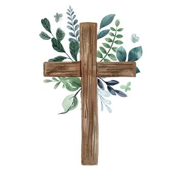Krzyż chrześcijański z kwiatową dekoracją, zimne odcienie zieleni i niebieskawego koloru. akwarela ilustracja
