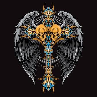 Krzyż czaszki z skrzydło wektor