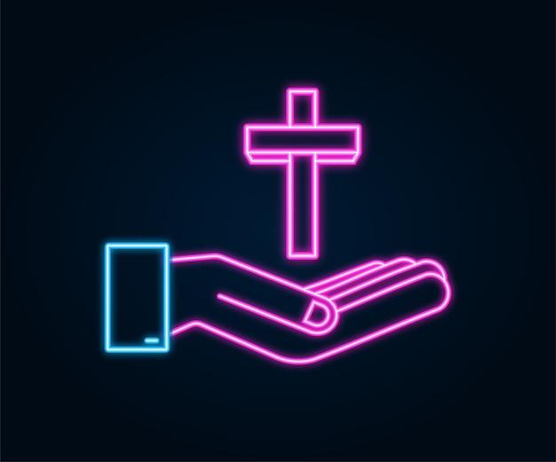 Krzyż drewna neon ikona w ręce projekt na białym tle. ikona religii.