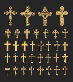 Krzyż ikony ustaw wektor