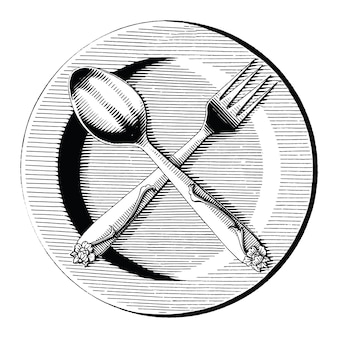 Krzyż łyżka i widelec na danie ręcznie rysować styl vintage grawerowanie czarno-białe clipart na białym tle
