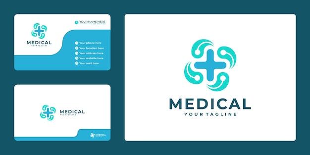 Krzyż plus projekt ikony logo medycznego i szablon wizytówki