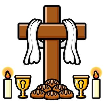 Krzyż projekt chleb i winogrona