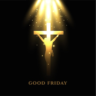 Krzyż ukrzyżowania jezusa ze świecącymi promieniami światła w wielki piątek