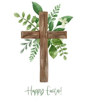 Krzyż wielkanocny z dekoracją kwiatową. ręcznie rysowane ilustracji akwarela.