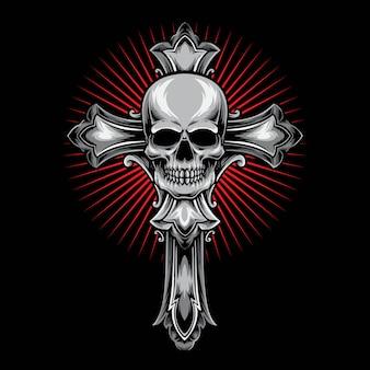 Krzyż z czaszką gotycką
