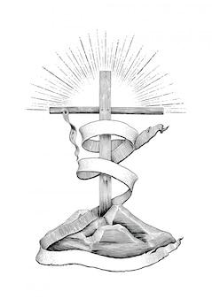 Krzyż ze wstążką, aby dodać tekst