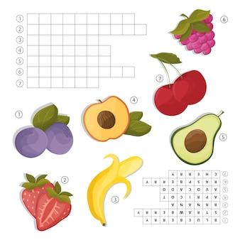 Krzyżówka do nauki języka angielskiego. znajdź słowa owoców według poziomych linii