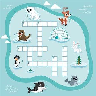 Krzyżówka gra logiczna z arktycznymi zwierzętami dla arkusza aktywności dzieci w wieku przedszkolnym