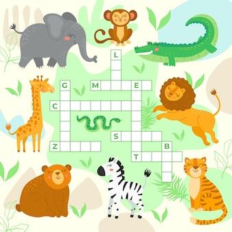 Krzyżówka w języku angielskim z dzikimi zwierzętami